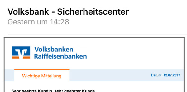 Screenshot: Phishing-Mail Konto verifizieren